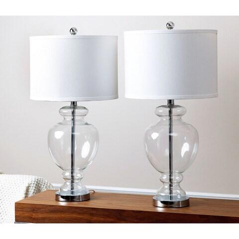 Abbyson Burnham Clear Glass 28-inch Table Lamp (Set of 2)