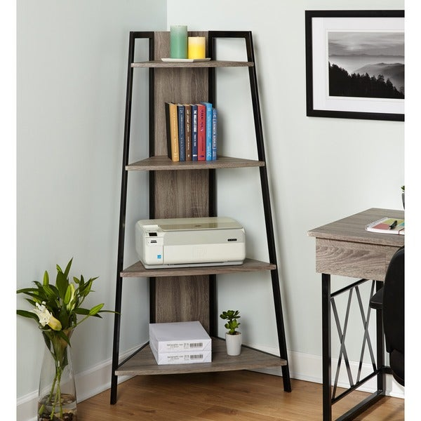 Simple Living Seneca Black Grey Metal Corner Shelf N A
