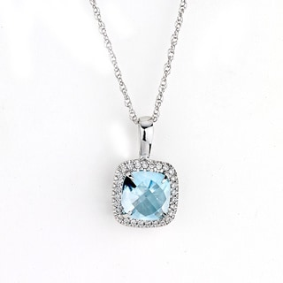 Neda Behnam DFAC 14k White Gold 1/6ct TDW Diamond Halo and Blue Topaz Necklace (G-H, SI1-SI2)