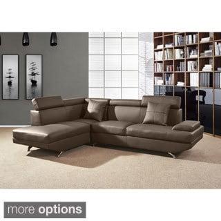 Elena Modern Butterscotch Faux Leather 2-piece Sectional Sofa set
