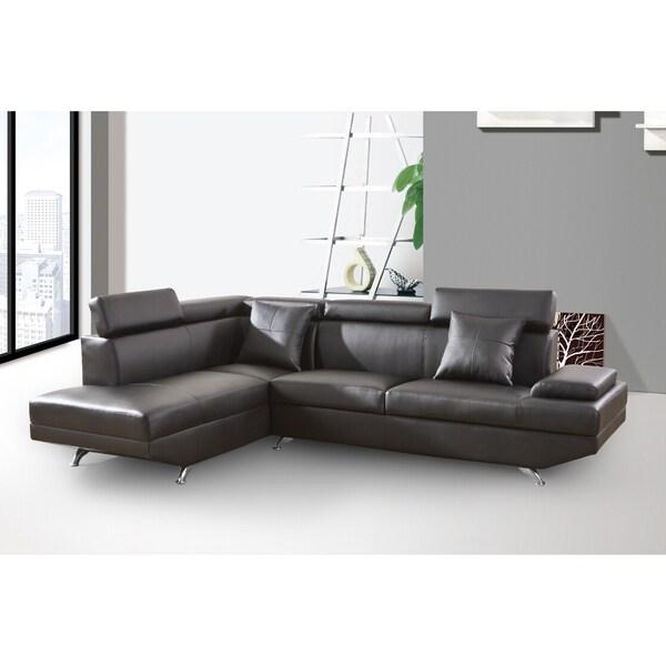 elena black leather modern 2 piece sectional sofa set With elena black leather modern 2 piece sectional sofa set