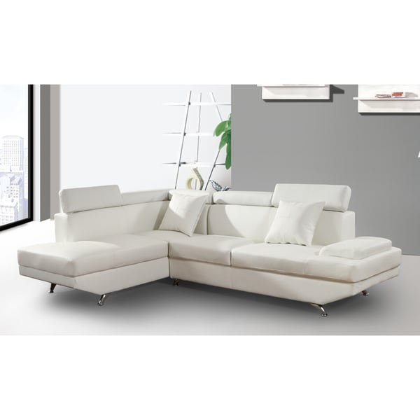 Elena white leather modern 2 piece sectional sofa set for Marthena 2 piece white leather sectional sofa with ottoman