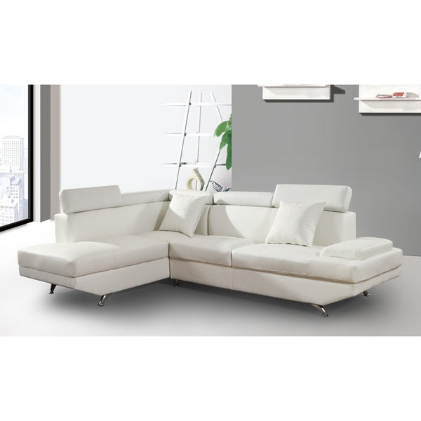 Elena white leather modern 2 piece sectional sofa set for Elena leather 2 piece sectional sofa