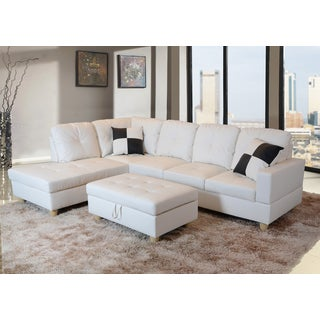 Delma 3-pc White Faux Leather Left Chaise Sectional set with Storage Ottoman