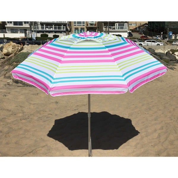 Shop 7 Foot Pink Or Lime Stripe Beach Umbrella With Travel Bag
