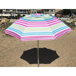 7 -foot Pink or Lime Stripe Beach Umbrella with Travel Bag