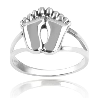 Journee Collection Sterling Silver Feet Ring