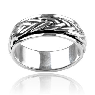 Vance Co Men's Sterling Silver Braid 8mm Spinner Band