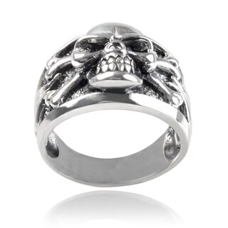 Vance Co Men's Sterling Silver Skull Ring