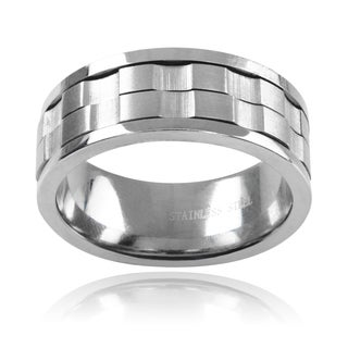 Vance Co Men's Stainless Steel Spinner Band (8 MM)