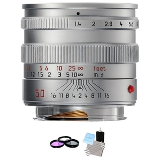 Leica Normal 50mm f/1.4 Summilux M Aspherical Lens Silver Bundle