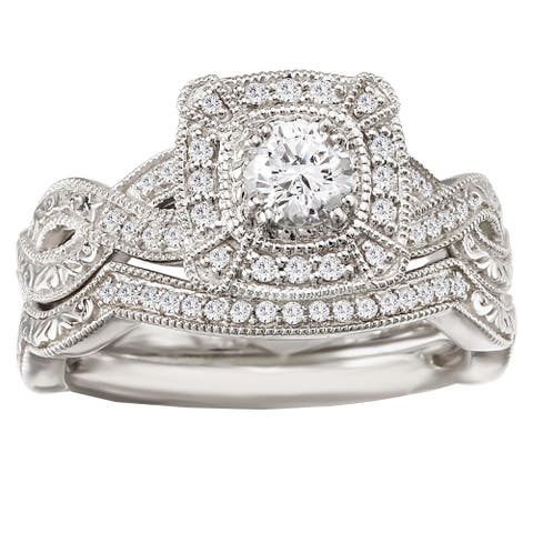 f38aab2b205d20 Avanti 14k White Gold 1/2ct TDW Diamond Halo Vintage Bridal Ring Set (G-H