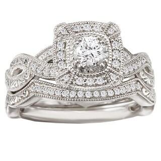 Avanti 14k White Gold 1/2ct TDW Diamond Halo Vintage Bridal Ring Set (G-H, SI1-SI2)