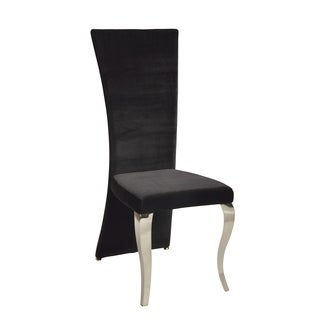 Somette Tabitha Black Velvet Rectangle High Back Side Chair (Set of 2)