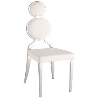 Somette Oriana Chrome/ White Double Ring Back Side Chair (Set of 2)