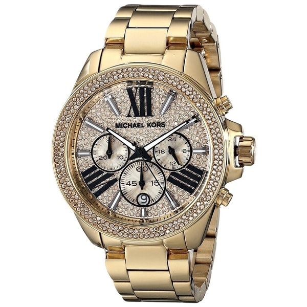 Michael Kors Women's MK6095 'Wren' Chronograph Crystal Gold Tone Stainless Steel Watch