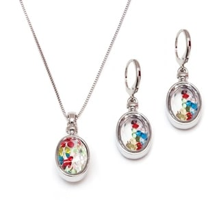 Peermont Jewelry Rhodium-plated Silver Austrian Crystal Round Drop Pendant Necklace and Earrings Se