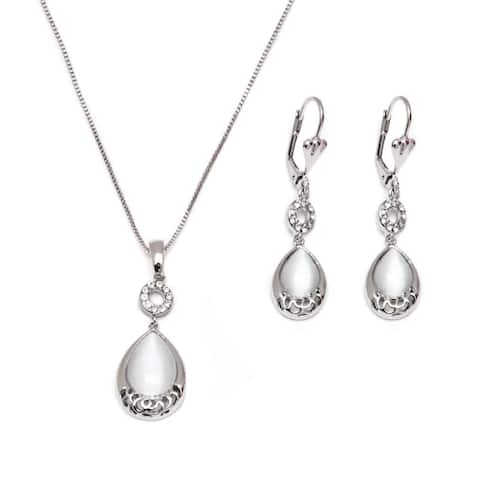 Rhodium-plated Earrings and Necklace
