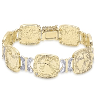 Finesque Gold Overlay Diamond Accent Coin Bracelet