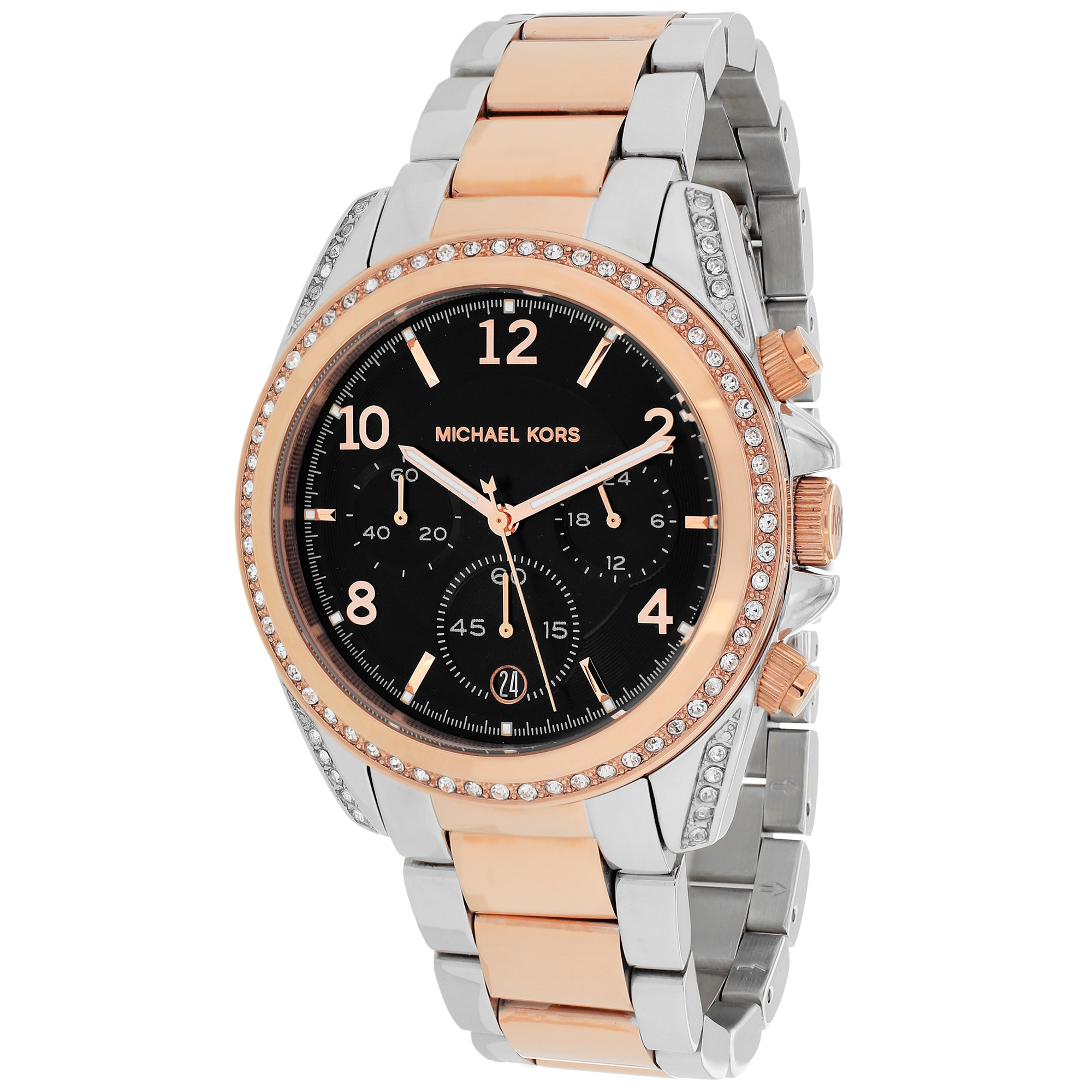 Michael Kors Women's MK6093 'Blair' Chronograph Black Dial Two Tone Stainless Steel Watch