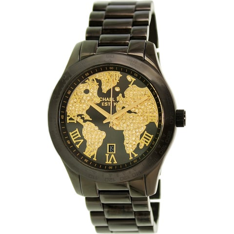 Michael Kors Men's 'Layton' Chronograph Globe Crystal Dial Black Stainless Steel Watch