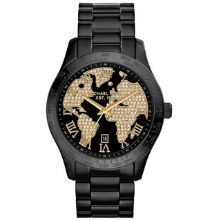 Michael Kors Men's MK6091 'Layton' Chronograph Globe Crystal Dial Black Stainless Steel Watch