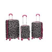 Rockland Pink Giraffe 3-piece Lightweight Hardside Spinner Luggage Set