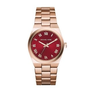 Michael Kors Women's MK6090 'Channing' Red Dial Rose Gold Tone Stainless Steel Watch