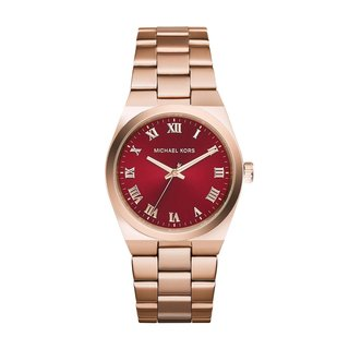 Michael Kors Women's 'Channing' Red Dial Rose Gold Tone Stainless Steel Watch