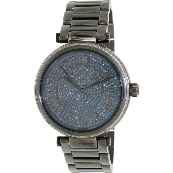 ac227c8a21ff Shop Michael Kors Women s  Skyler  Blue Crystal Dial Grey Stainless Steel  Watch - Free Shipping Today - Overstock - 9754573