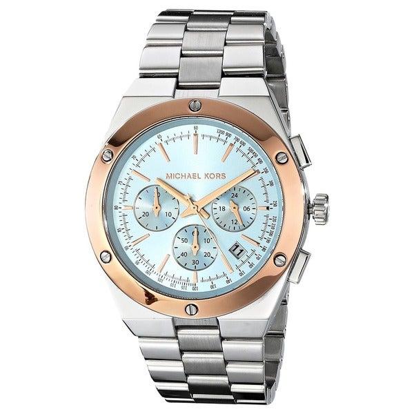 Michael Kors Men's MK6079 'Reagan' Chronograph Light Blue Dial Stainless Steel Watch. Opens flyout.