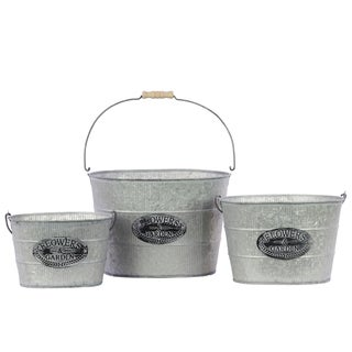 Galvanized Zinc Metal Bucket with Wood Handles (Set of 3)