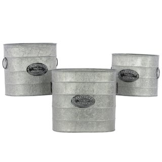 Galvanized Zinc Metal Bucket with Metal Handles (Set of 3)