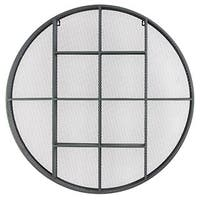 Grey Metal Round Shelf with Mesh Backing and 12 Shelves