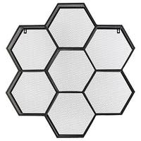 Black Metal Shelf Polyhexagonal with Mesh Backing and 7 Shelves