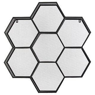 Black Metal Shelf Polyhexagonal with Mesh Backing and 7 Shelves