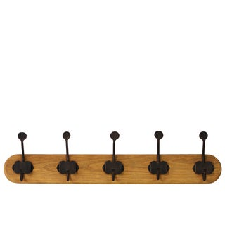 Varnished Wood Finish Wood Hanger with 10 Metal Hooks Large