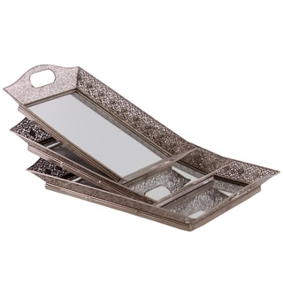 Pierced Silver Metal Tray with Mirror Surface and Hole Handles (Set of 3)