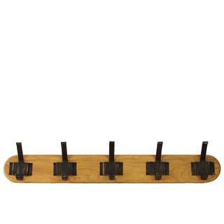 Large Varnished Wood Finish Wood Hanger with 10 Metal Hooks