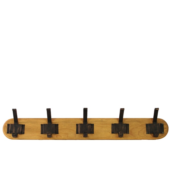 Large Varnished Wood Finish Wood Hanger with 10 Metal Hooks