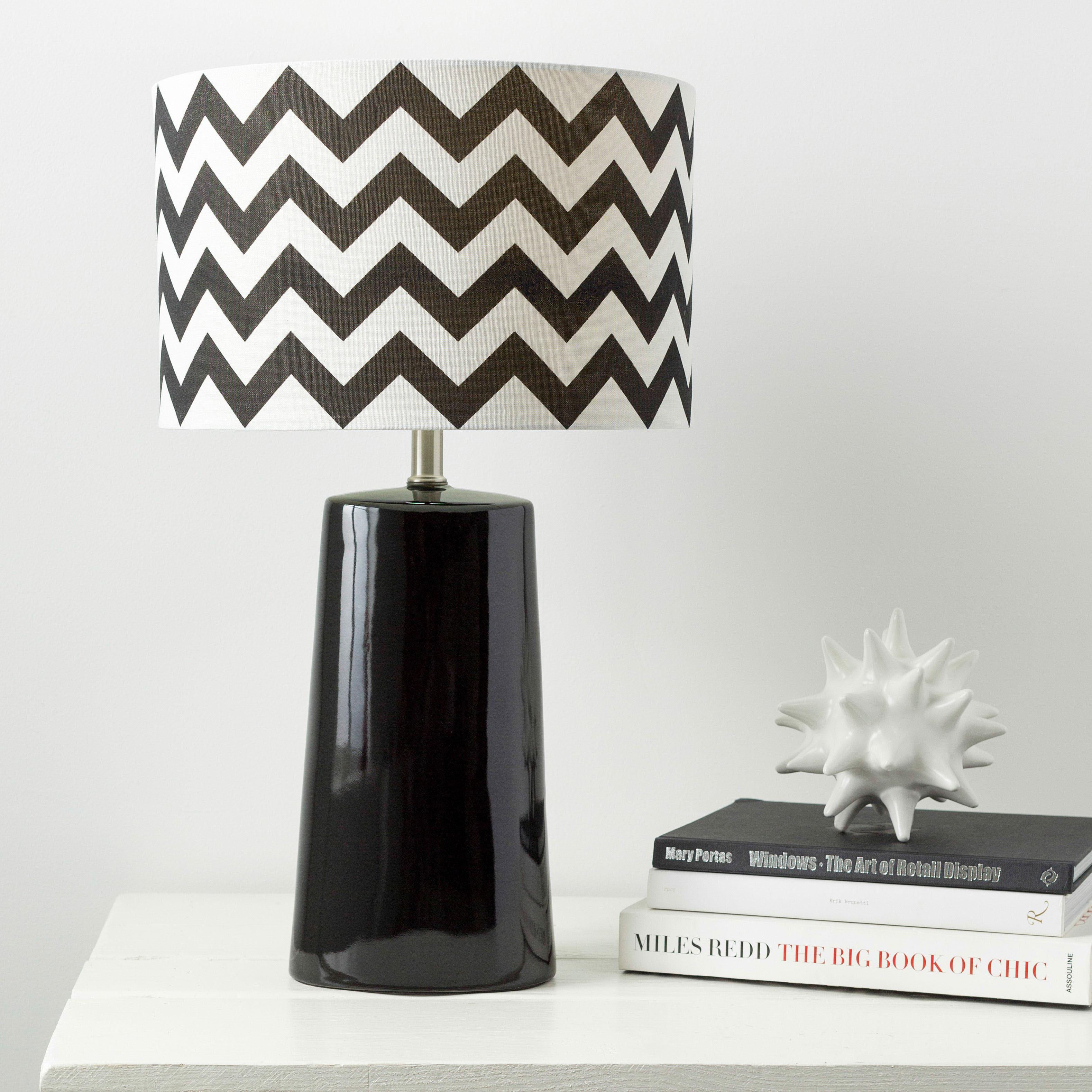 Modern Chevron Ceramic Harper Lamp (Black)