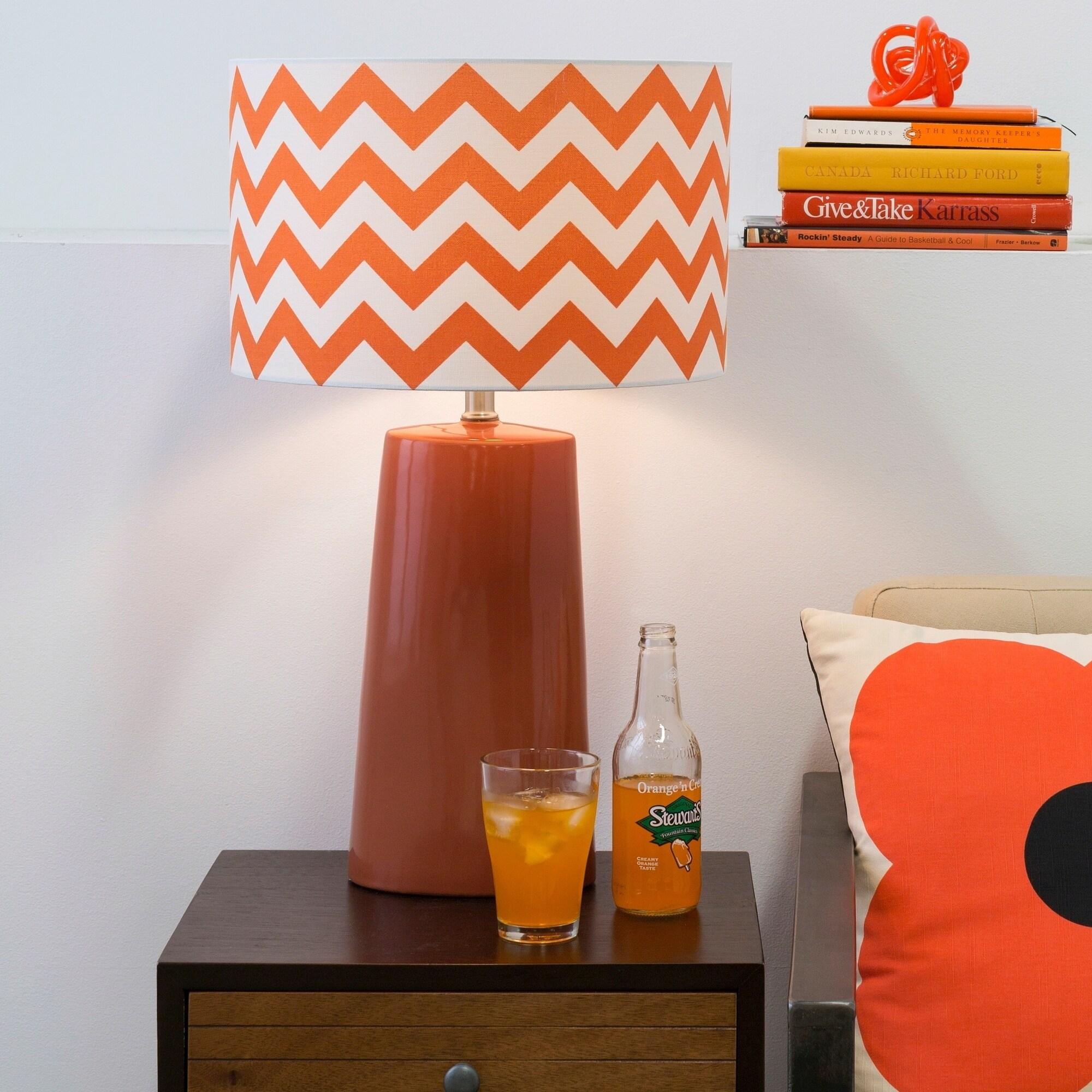 Modern Orange Chevron Ceramic Harper Lamp (Orange)