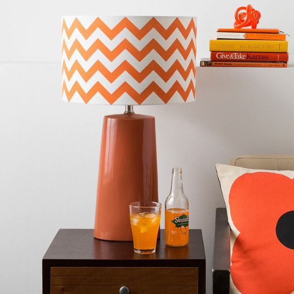 Modern Orange Chevron Ceramic Harper Lamp
