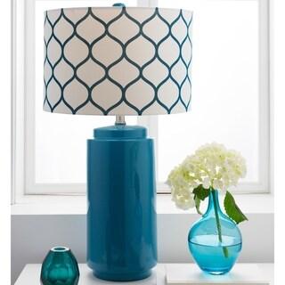 Flynn Modern Moroccan Blue Ceramic Lamp
