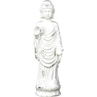 Distressed White Ceramic Large Standing Buddha in Varada Mudra
