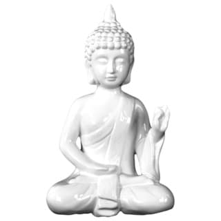 Gloss White Ceramic Meditating Buddha in Abhaya Mudra