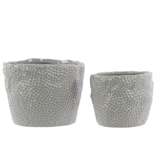Light Grey Dimpled Gloss Ceramic Uneven Round Pots (Set of 2)