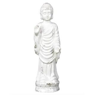 Distressed White Ceramic Small Standing Buddha in Varada Mudra