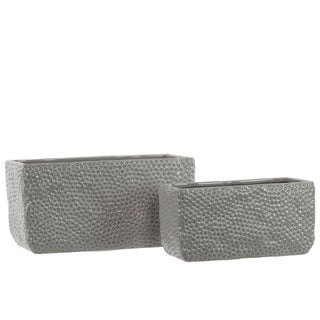 Light Grey Dimpled Gloss Ceramic Rectangular Uneven Pots (Set of 2)