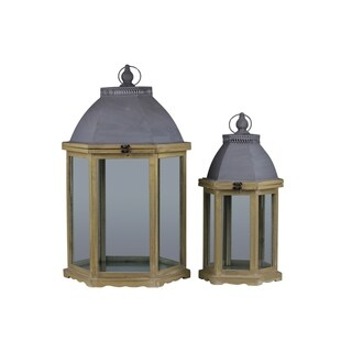 Distressed Wood Finish Cast Iron Top Wooden Lantern with Metal Handle and Glass Sides (Set of 2)
